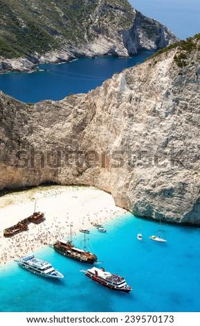 paradise beach Navagio with shipwreck at Zakynthos island - stock photo