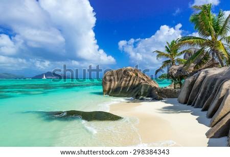 Paradise beach of Seychelles - La Digue - Anse Source d'Argent  - stock photo