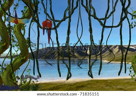paradise by water - stock photo