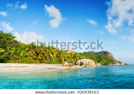 paradise on earth : anse source d'argent beach on la digue island in seychelles - stock photo