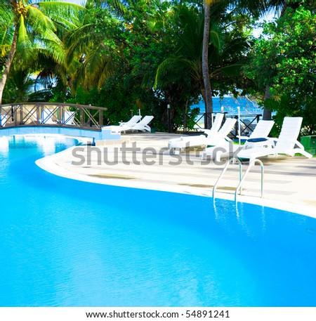 Paradise Resort Pool - stock photo