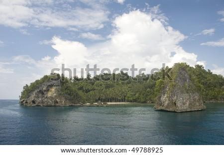 Paradise rocky island. Kadidiri, Togean archipelago,  Indonesia. - stock photo