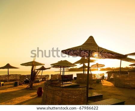 Paradise Skies Gold - stock photo