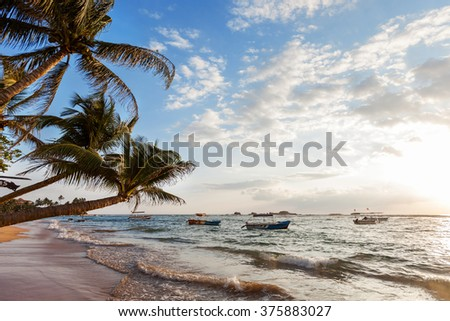 Paradise sunset on the ocean. Sri Lanka, December 2015 - stock photo