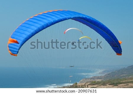 Paragliders in San Diego - stock photo