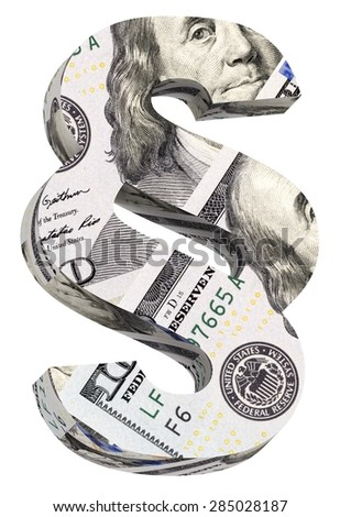 Paragraph sign from dollar bill alphabet set isolated over white. Computer generated 3D photo rendering. - stock photo