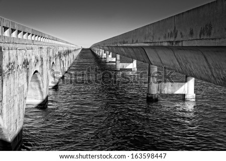 Parallel bridges in Key West Florida - stock photo