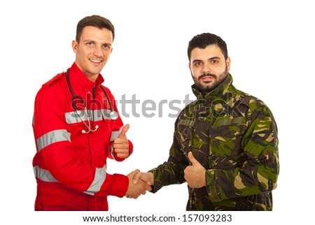 Paramedic and soldier handshake and giving thumb up isolated on white background - stock photo