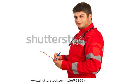 Paramedic in profile taking notes isolated on white background - stock photo
