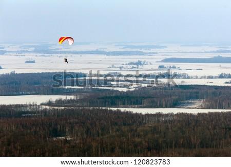 Paramotor in flight - stock photo