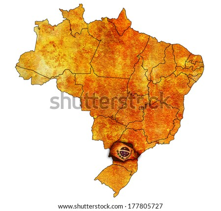 parana on administration map of brazil with flags - stock photo