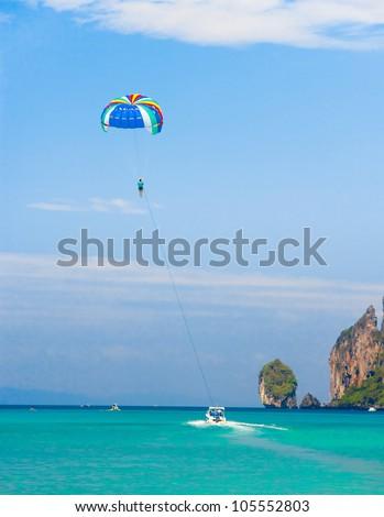 Parasailing Sky Tourist Attraction - stock photo