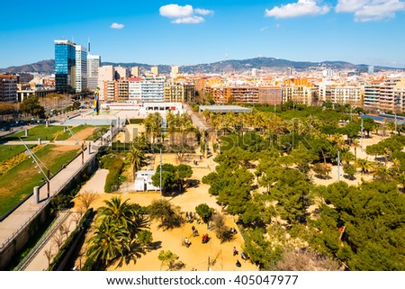 parc miro in barcelona on a sunny day - stock photo