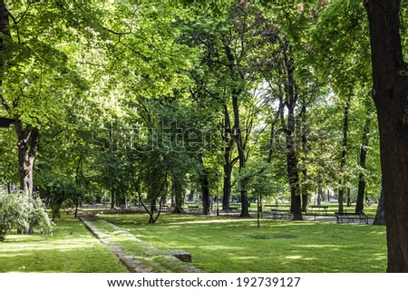 parc Planty wit green trees in  Krakow, Poland - stock photo