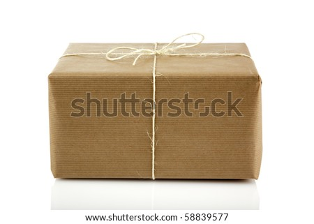 parcel bound up with string isolated on white - stock photo