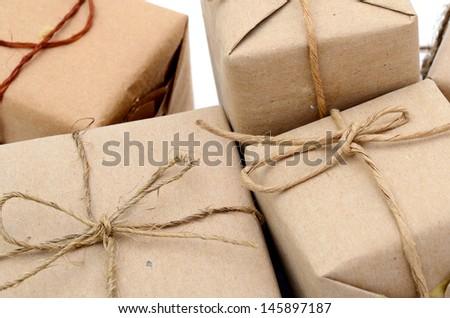 Parcel boxes background - stock photo