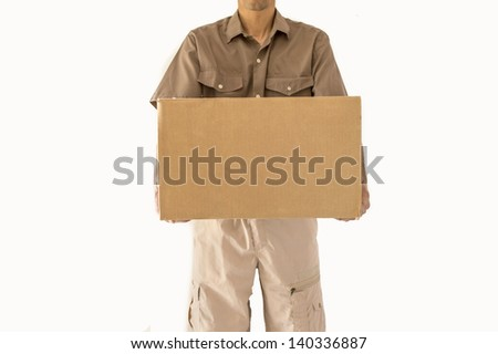 parcel delivery isolated on white - stock photo