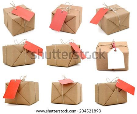 parcel gifts, tag - stock photo