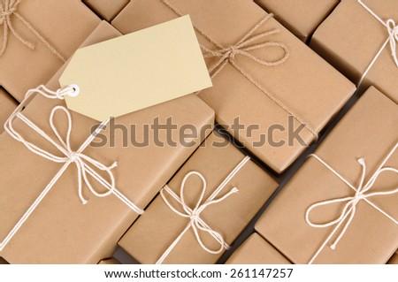 Parcel heap, pile, label - stock photo