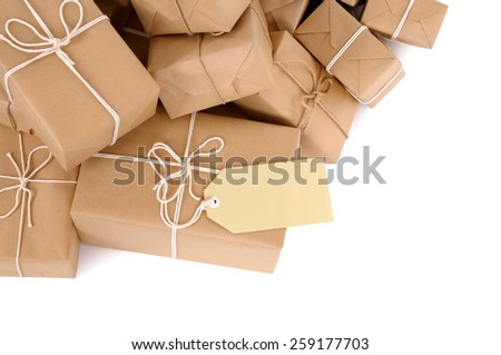 Parcel : Untidy pile of brown package, label, isolated - stock photo