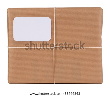 Parcel with blank space for address - stock photo