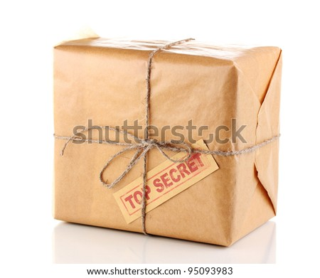 Parcel with top secret stamp isolated on white - stock photo