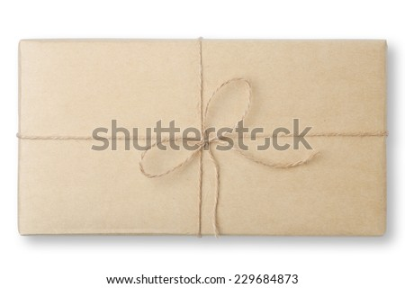 parcel wrapped packaged box - stock photo