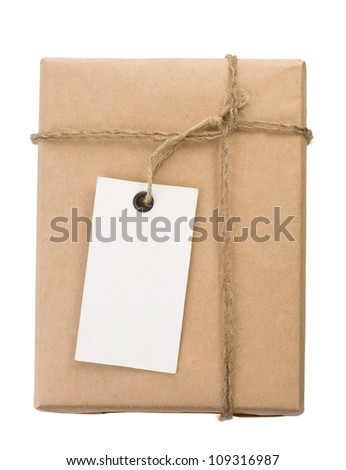 parcel wrapped packaged box isolated on white background - stock photo