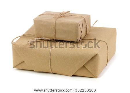 Parcels boxes closeup - stock photo