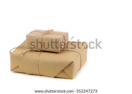 Parcels boxes on white background - stock photo
