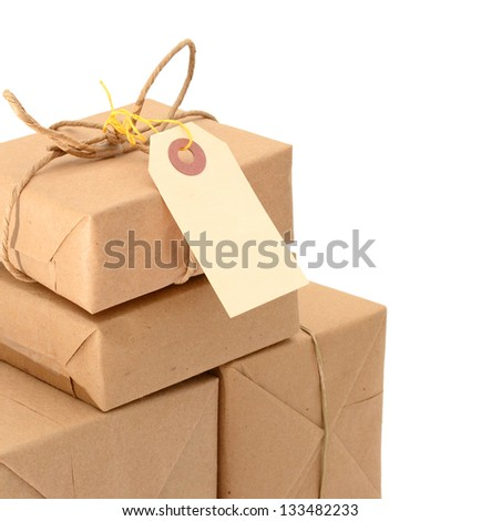 parcels boxes wrapping, isolated on white - stock photo