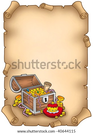 Parchment with big treasure chest - color illustration. - stock photo