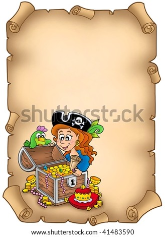 Parchment with pirate girl and treasure - color illustration. - stock photo