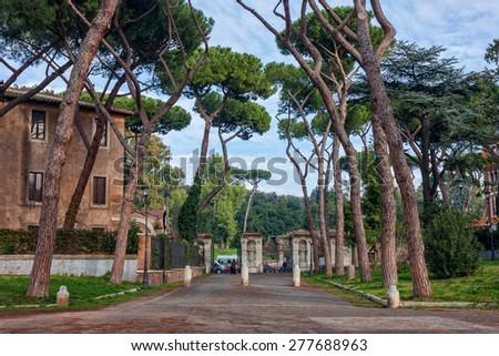 Parco Del Colle Oppio is a park in the Rome's  historical center near the Colloseum. - stock photo