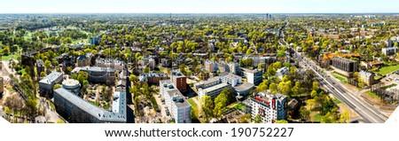 Pardaugava. Panoramic view of Riga city neighbourhood. Latvia - stock photo