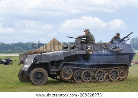 PARDUBICE, CZECH REPUBLIC - 2 June 2012: Sdkfz-251 halftrack in aviation fair and century air combats, Pardubice, Czech Republic on 2-3 June 2012 - stock photo
