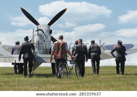PARDUBICE, CZECH REPUBLIC - 6 June 2015: Supermarine Spitfire aircraf in aviation fair and century air combats, Pardubice, Czech Republic on 6 June 2015 - stock photo