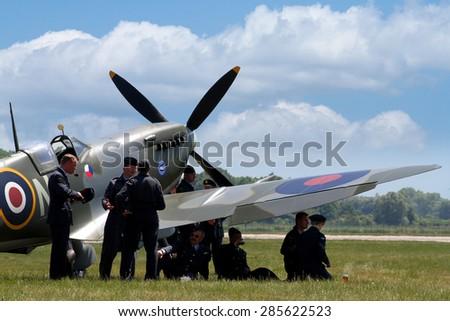 PARDUBICE, CZECH REPUBLIC - 6 June 2015: Supermarine Spitfire aircraft in aviation fair and century air combats, Pardubice, Czech Republic on 6 June 2015 - stock photo