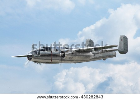 PARDUBICE, CZECH REPUBLIC - 29 May 2016: Aircraft B-25 Mitchell in aviation fair and century air combats, Pardubice, Czech Republic on 29 May 2016 - stock photo