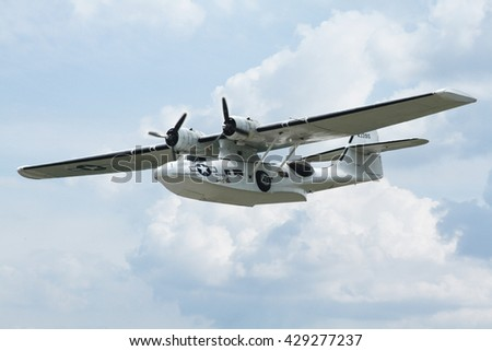 PARDUBICE, CZECH REPUBLIC - 29 May 2016: Aircraft Consolidated PBY-5A in aviation fair and century air combats, Pardubice, Czech Republic on 29 May 2016 - stock photo