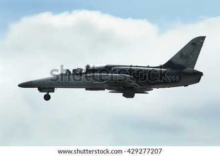 PARDUBICE, CZECH REPUBLIC - 29 May 2016: Aircraft  L 159 Alca aircraf in aviation fair and century air combats, Pardubice, Czech Republic on 29 May 2016 - stock photo