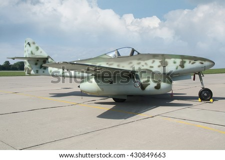PARDUBICE, CZECH REPUBLIC - 29 May 2016: Aircraft Me-262 Schwalbe in aviation fair and century air combats, Pardubice, Czech Republic on 29 May 2016 - stock photo