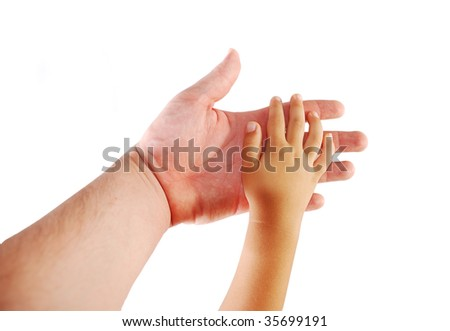 Parent and child, hands together on white background - stock photo
