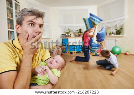 parent in confusion state or stress from children bad manners behaviour - stock photo