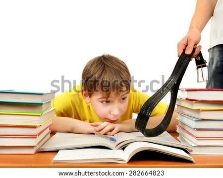 Parent punishing the Son Isolated on the White Background - stock photo