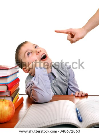 Parent threatening a Lazy Son for a Learning on the white background - stock photo