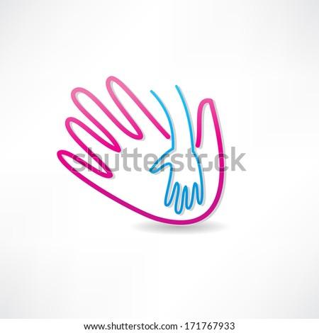 parental hand icon - stock photo