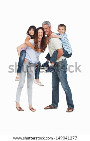Parents holding their children on backs on white background - stock photo