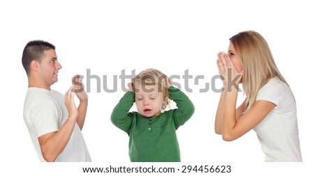 Parents screaming for a fight in front of your baby - stock photo