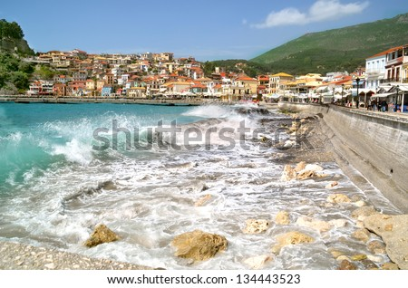Parga waves Greece in spring - stock photo